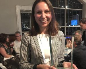 Dr Olya Shatova, of Oritain, holds the award for NZ's biotechnology company of the year at the...