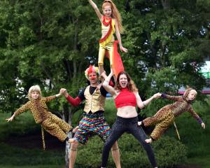 Ashton Family Circus members (from left) Jaz (4), Royce, Dylan Daisy (11), Anna and Dallas (4)...