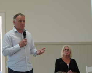 Ministry for Primary Industries director of response Geoff Gwyn speaks at Thursday night's...