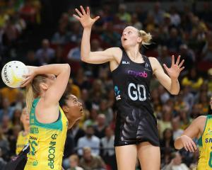 Caitlyn Thwaites of Australia shoots at goal during the 2017 Constellation Cup match between the...