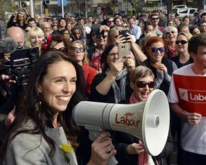 Jacinda Ardern speaks at a rally in Dunedin. Photo: ODT