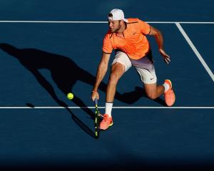 Returning champion Jack Sock plays in his semifinal at the 2017 ASB Classic. Photo: Getty Images