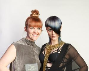 Kylie Hayes (left), of Moha Hairdressing in St Kilda, with her model wearing the hairstyle which...