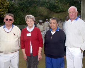 Ken Smeal, Lorraine Swanson, Winnie McLelland and Barry Thompson at the Andersons Bay Bowling...