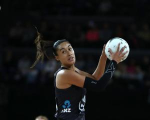 Maria Tutaia turns after catching the ball for the Silver Ferns against Australia last night....