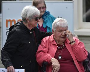 Margaret Matthews (76, left) comforts Nancye Coombes (88) at the  protest. Photos: Gregor Richardson