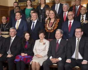 Prime Minister Jacinda Ardern (third from left) with Governor General Dame Patsy Reddy and the...