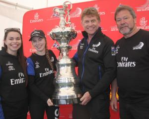 Oamaru's (left) Kristin and Alex Murdoch stand with Team New Zealand's Shore Boss Sean Regan,...