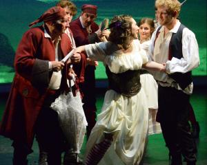 Harry Grigg (Frederic) and Beth Goulstone (Mabel)  during dress rehearsal for The Pirates of...