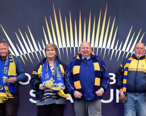 Otago Rugby Supporters Club members (from left) patron Gerard Simmons, Elaine Shanks, Jim Shanks...