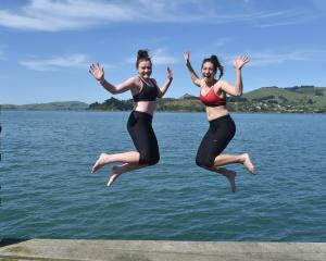Catching some rays yesterday were, main photo and then top to bottom, students Pip Dingle (left),...