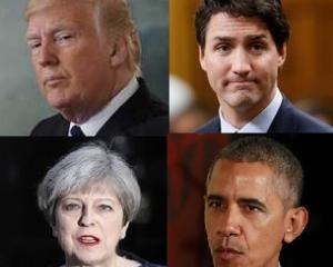 US President Donald Trump, Canadian Prime Minister Justin Trudeau, British Prime Minister Theresa May and former US President Barack Obama. Photos: Reuters