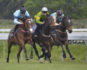 Willow and rider Jacob Lowry (left) fight out the finish of a jumpout with Taieri Gem and...