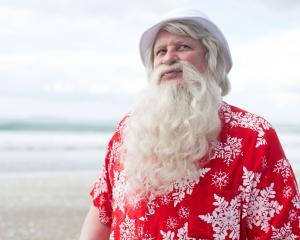 Finnish actor Kari Vaananen as Santa, enjoying a little December sun. Photo: Supplied