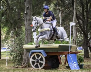 Clarke Johnstone  and Balmoral Sensation clear an obstacle on the cross-country course at the...