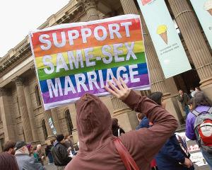 Supportera at a same-sex marriage rally in Melbourne earlier this year. Photo Getty