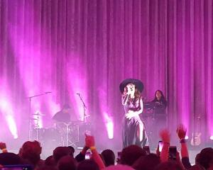 Lorde opens her show at the Dunedin Town Hall. Photo James Hall