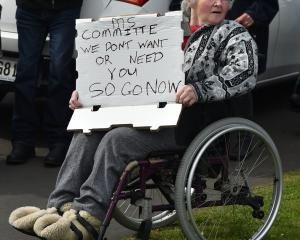 Arralyn Ibbotsin (66) at an emotional MS Society protest in Dunedin last month. PHOTO: Gregor...
