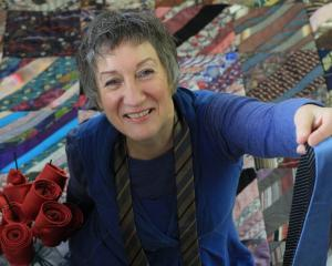 Oamaru's Irene Sparks with some of her collection of more than 21,000 ties. Photo: Hamish MacLean