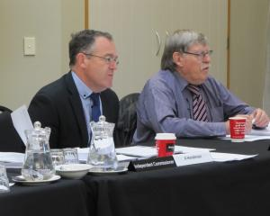 Commissioners Andrew Henderson (left) and John Lane consider the application from CHP Development...