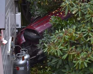 The victim's car ploughed through shrubbery and over a retaining wall into a house on Greenock St...