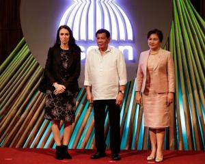 NZ Prime Minister Jacinda Ardern, Philippine President Rodrigo Duterte and his partner Cielito...