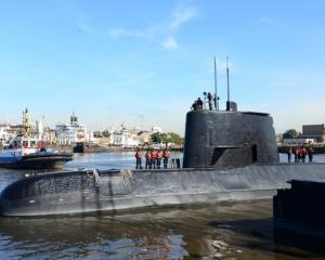 The Argentine military submarine ARA San Juan and crew are seen leaving the port of Buenos Aires....