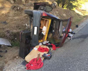 Police said all four people in the car, including the parent of the driver, were intoxicated....