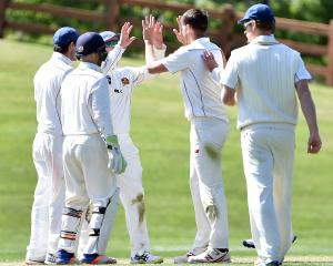 Otago players celebrate the wicket of Ross Taylor, albeit in vain. Photo: Peter McIntosh