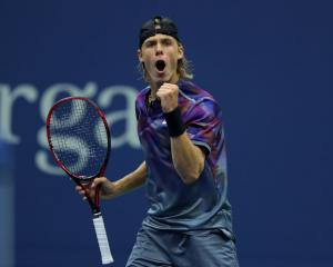 Denis Shapovalov celebrates winning a point at the US Open earlier this year. Photo: Getty Images