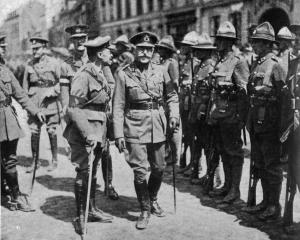 The Duke of Connaught inspects New Zealand troops after the victory at Messines. — Otago Witness,...
