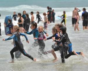 Children enjoy fine weather in Dunedin. Photo: ODT