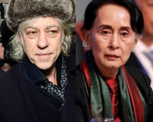 Bob Geldof and Aung San Suu Kyi. Photos: Reuters
