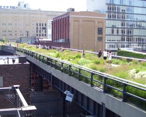 New York's High Line, a public area created on a former New York Central Railroad. Photo:...