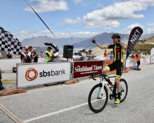 Michael Torckler wins stage three of the Tour of Southland on Coronet Peak yesterday. Photo:...