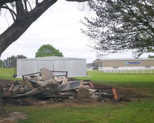 The remains of a small stable at the Balclutha Showgrounds destroyed in a suspicious fire...