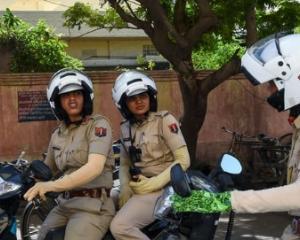 Indian police women biker team. Photo: Twitter