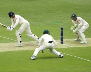 England's James Vince plays the ball down the leg side on day one of the first Ashes test at the...