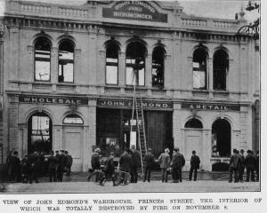 The frontage of John Edmond's warehouse, the interior of which was destroyed by fire on November...