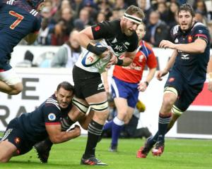 All Black captain Kieran Read is tackled against France at the weekend. Photo: Getty Images