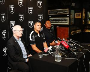 Alex Hayton, David Kidwell and Tawera Nikau at the Kiwis team selection before the World Cup....