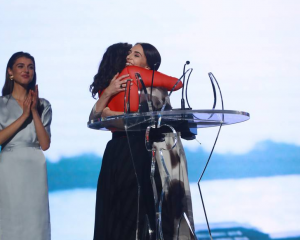 Jacinda Ardern and Lorde shared an embrace on stage after Ardern presented Lorde with the People...