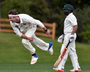 Otago pace bowler Michael Rae bowls during his side's Plunket Shield match against Central...
