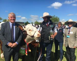 Canterbury A&P Association president Peter Gilbert (left), of Ashburton, and Royal...