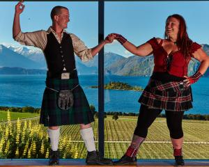 Event organisers Ben Clark and Claire French practise their moves ahead of the inaugural Ceilidh...