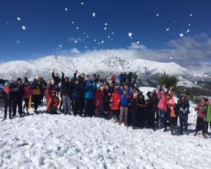 Taieri College pupils enjoy the snow in Queenstown during year 8 camp. Photo: Supplied