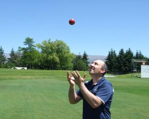 Otago Cricket Association manager operations Tim O'Sullivan visits Molyneux Park yesterday....