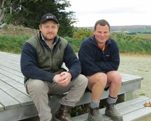 Logan Bain (left) and Caleb Neilson, of Thornicroft Station, near Lake Mahinerangi, both enjoy...