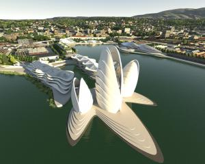 The suggested cockleshell hotel and cultural centre in Damien van Brandenburg's plan for the...