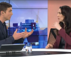 Jack Tame interviews Jacinda Ardern on Breakfast this morning. Photo:TVNZ